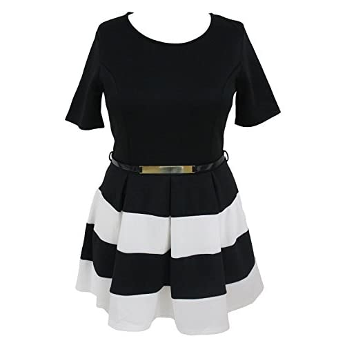 7de4fdd5cdb good Roswear Women s Stripes Detail Belted Plus Size Skirt Skater Dress