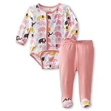 Magnificent Baby Girl's Elephant Long Sleeve Burrito Plus Pants Set, Elephant, 6 Months, 1-Pack