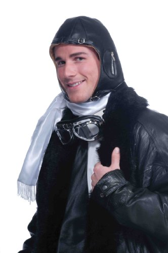 Aviator Vintage Costumes (Forum Novelties Deluxe Aviator Airplane Flight Black Costume Helmet)