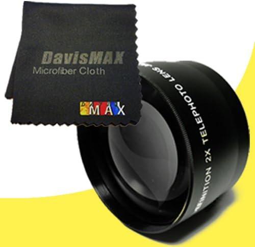 DavisMAX 58mm 2X Telephoto Lens for Nikon D5100 with Nikon 50mm 1.4 Lens Fibercloth Lens Bundle