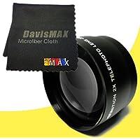 77mm 2x Telephoto Lens for Nikon D800 with Nikon 24-70mm Lens + DavisMAX Fibercloth Lens Bundle