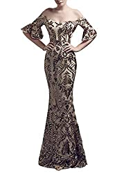 Women's Off-Shoulder Sequins Mermaid Dress with Sleeves