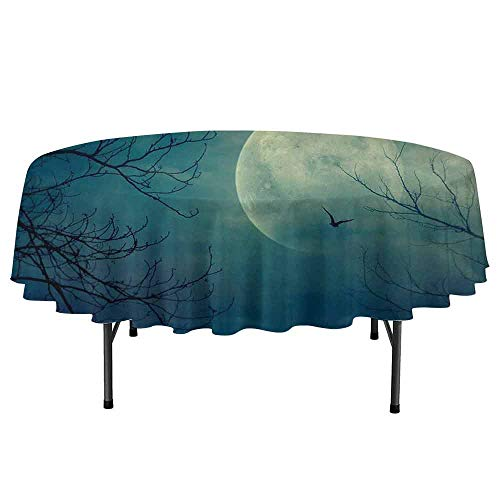 DouglasHill Horror House Leakproof Polyester Round Tablecloth Halloween with Full Moon in Sky and Dead Tree Branches Evil Haunted Forest Print Outdoor and Indoor use D40 Inch -