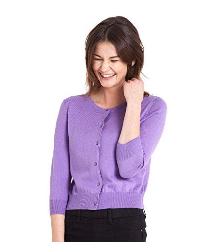 WoolOvers Womens Silk and Cotton 3/4 Sleeve Crop Cardigan Deep Lilac, XL (3/4 Sleeve Silk Sweater)