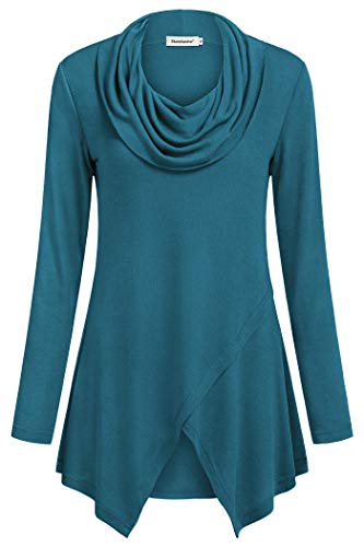 Nandashe Women Solid Color Shirts, Female Turtle Neck Full Length Sleeve A line Oversized Shirts for Women to Wear with Leggings Loose Flowy Tops Formal Wear Extra Large Aqua US Size 16-18