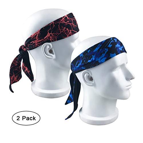 NINGDER Long Tail Printed Head Tie,Custom Fit Sports Headband,Moisture Wicking Head Wrap Sweatband for Running,Crossfit,Basketball,Workout,Bike Helmet Friendly (2-Pack/1-Red & 1-Blue)