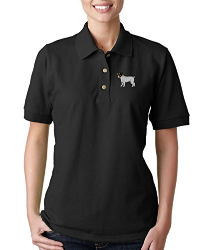 Jack Russell Terrier Embroidery (Jack Russell Terrier Dogs Embroidery Cotton Women Short Sleeve Polo Shirt Black Medium)