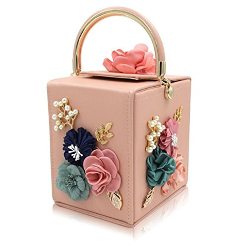 Evening Clutches Bag Party amp;OS Square Vintage ZJ Flower Women Shape Tote pink Bags Purse Clutch Wedding PqC1U