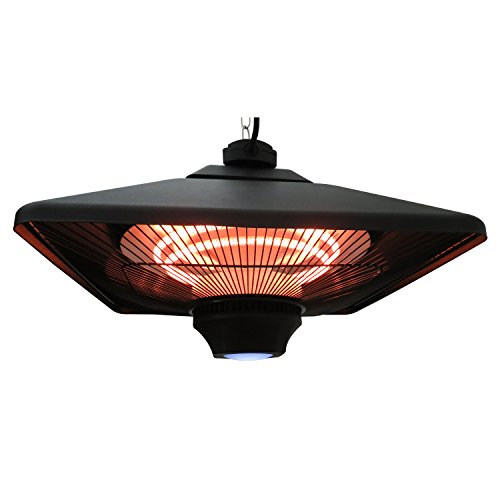 Outsunny 1500W Ceiling Mounted Square Outdoor Electric Patio Heater W/ LED  Light And Remote Control