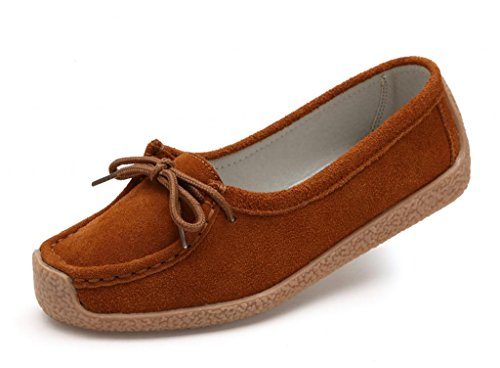 Loafers Suede Moccasins SUNROLAN ons Shoes Slip Leather Women's up Light 9802 Brown Lace Work 54n0rw08aq