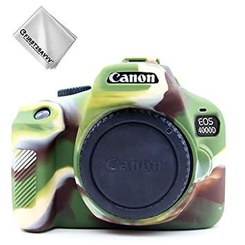 First2savvv Verde Cuerpo Completo Caucho de TPU Funda Estuche Silicona para cámara para Canon EOS 4000D Rebel T100 3000D XJPT-4000D-GJ-S06G11