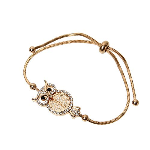 ORNAPEADIA Jewelry Charm Gold Bracelet for Women - Owl Gold Crystal