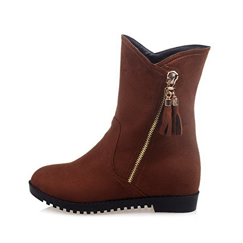 Brown Frosted Top Boots Heels Kitten Solid Women's Zipper Mid AgooLar 7qTFzF