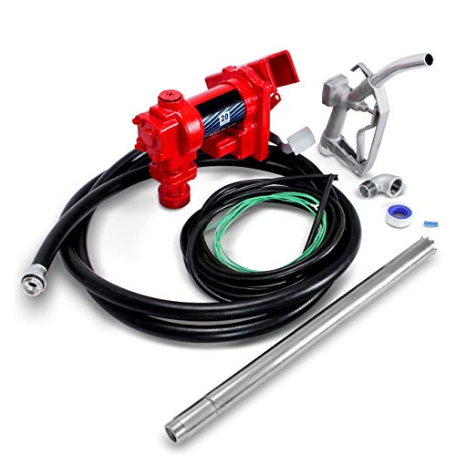 ARKSEN Fuel Transfer Pump 12V 20GPM Diesel Gas Kerosene Car Tractor Truck Discharge 12' Hose Manual Nozzle Suction Pipe (Gas Oil Truck)