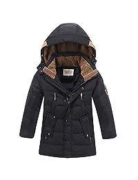 LISUEYNE Boys Kids Winter Hooded Down Coat Puffer Jacket for Big Boys Mid-Long