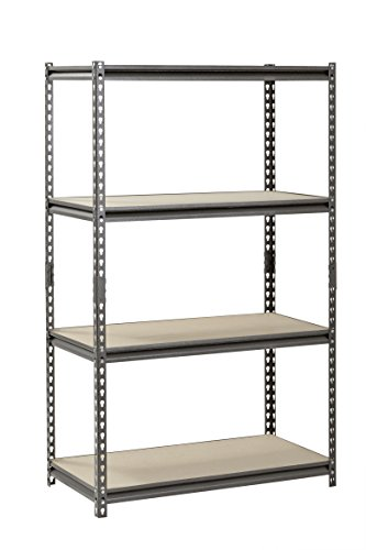 "Muscle Rack UR361860PB4P-SV Silver Vein Steel Storage Rack, 4 Adjustable Shelves, 3200 lb. Capacity, 60"" Height x 36"" Width x 18"" Depth"