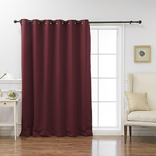 Best Home Fashion Premium Wide Width Thermal Insulated Blackout Curtain - Antique Bronze Grommet Top - Burgundy - 80 W x 84 L - (1 Panel)