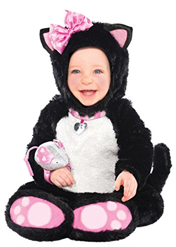 Baby Size Black and Pink Kitty Cat Costume Infants (12-18 (Baby Itty Bitty Kitty Costume)