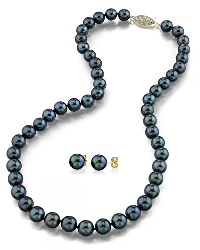 14K Gold 6.5-7.0mm Black Akoya Cultured Pearl Necklace & Earrings Set, 18'' Length - AA+ Quality by The Pearl Source