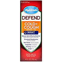 Hyland's DEFEND Cold and Cough Night Syrup, Natural Relief of Cold and Cough, 4 Ounce