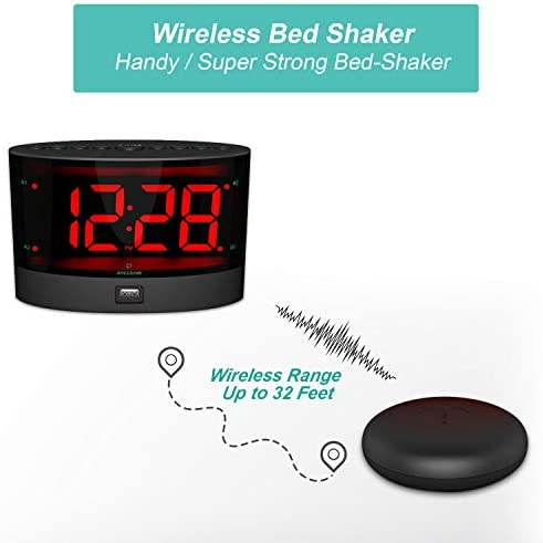 ANJANK Extra Loud Alarm Clock with Wireless Bed Shaker, Vibrating Dual Alarm Clock for Heavy Sleepers, Deaf and Hearing-impaired, Adjustable Volume Dimmer Wake up Mode, USB Charger Port, Pillow Shaker