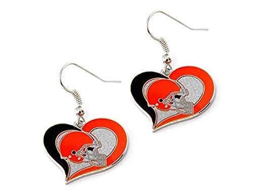 NFL Cleveland Browns Swirl Heart Earrings ()