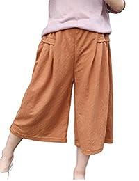 MFrannie Girls Vintage Loose Casual Thin Wide Leg Capri Pants