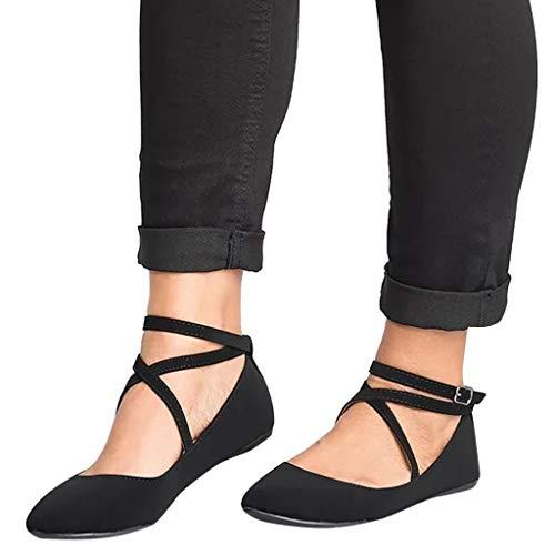 Women's Elastic Cross Strap Slip On Sandal - Summer Closed Toe Ballet Flats - Low Ankle Strap Dress Shoes ()