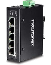 TRENDnet TI-G50 5-poorts geharde industriële gigabit-DIN-rail-schakelaar, 10 GB/s schakelcapaciteit, IP30 Gigabit-netwerkschakelaar DIN-rail- en wandhouders inbegrepen