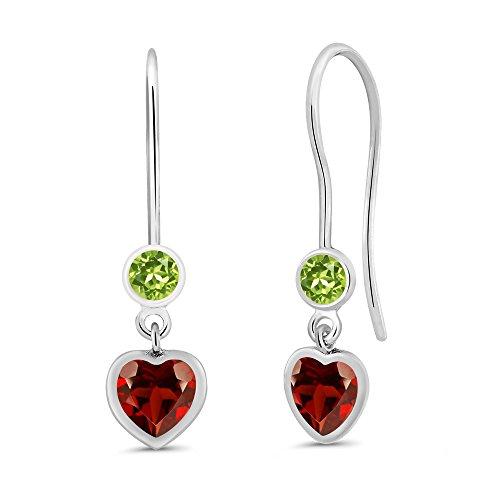 Gem Stone King 1.34 Ct Heart Shape Red Garnet Green Peridot 925 Sterling Silver Earrings