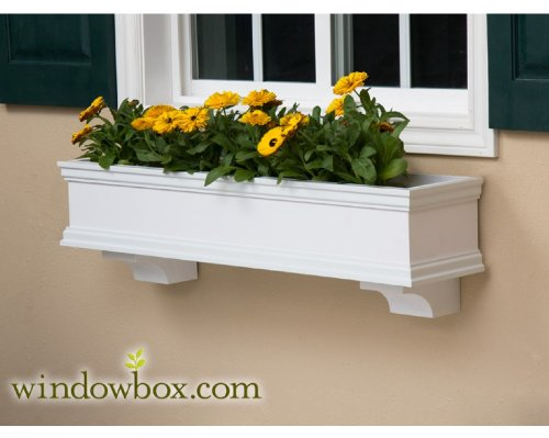 48 Inch Lancaster Direct Mount No Rot PVC Composite Flower Window Box w/ 2 Decorative Brackets by Windowbox