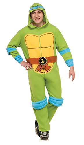 Ninja Turtle Onesie Costume (Adult size Leonardo TMNT Hooded Fleece Jumpsuit - Pajama - Extra Large)