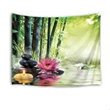 LB Zen Spa Meditation Tapestry Wall Hanging,Waterlily Flower Stones and Candle in Water Green Bamboo Natural Scenery Tapestries Wall Decor for Dorm Bedroom Living Room,60 W X 40 H INCH