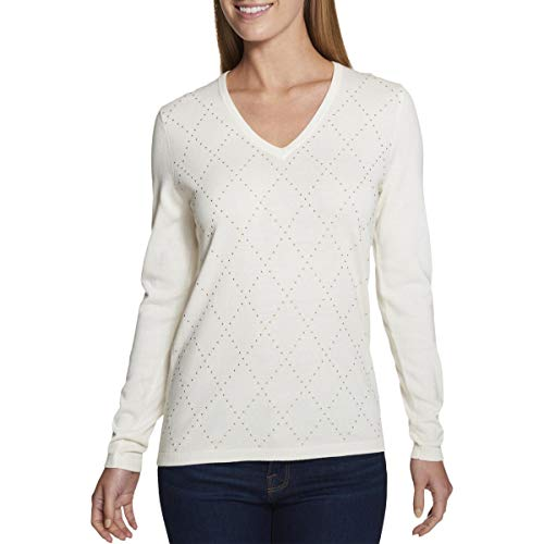 Tommy Hilfiger Womens Argyle V-Neck Pullover Sweater Ivory XL