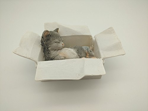 Gemmia Cat Series Fairy Figurine Ornament- box grey cat & ()