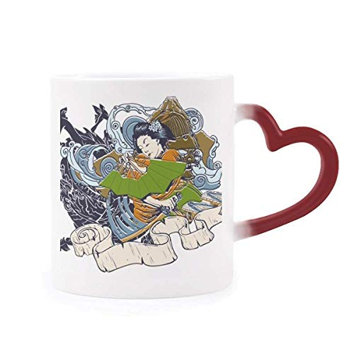 (Japan Kimono Woman Samurai Sword Morphing Mug Heat Sensitive Red Heart Cup)