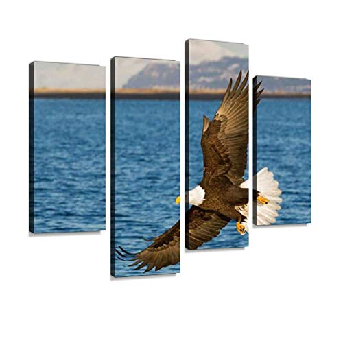 Bald Eagle Flying Canvas Wall Art Hanging Paintings Modern Artwork Abstract Picture Prints Home Decoration Gift Unique Designed Framed 4 Panel