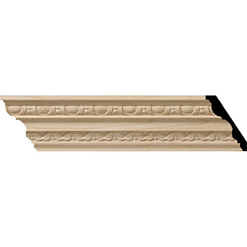 Ekena Millwork MLD04X02X05BEAL 4-Inch H x 2 7/8-Inch P x 5-Inch F x 96-Inch L Bedford Carved Wood Crown Moulding, Alder