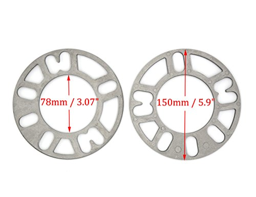 GoldenSunny Pack of 2, Aluminum Alloy 4 and 5 Lug 5mm Thickness Universal Wheel Spacers - Fit PCD 98-120 by GoldenSunny (Image #1)