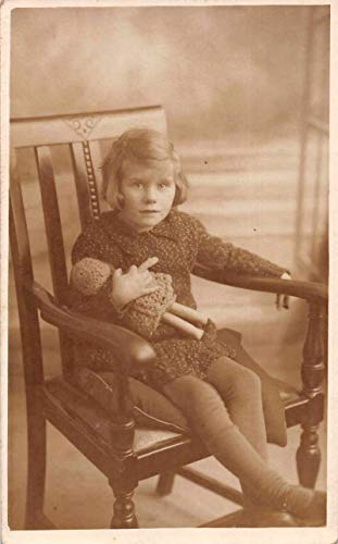 Child in Chair with Doll Real Photo Vintage Postcard JF686728