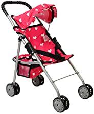 The New York Doll Collection My First Doll Stroller with Basket & Heart Design Foldable Doll Stroller,