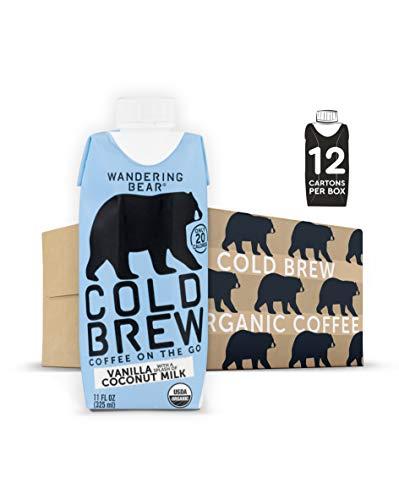 Wandering Bear Organic Cold Brew Coffee On-the-Go 11 oz Carton, Vanilla w/...