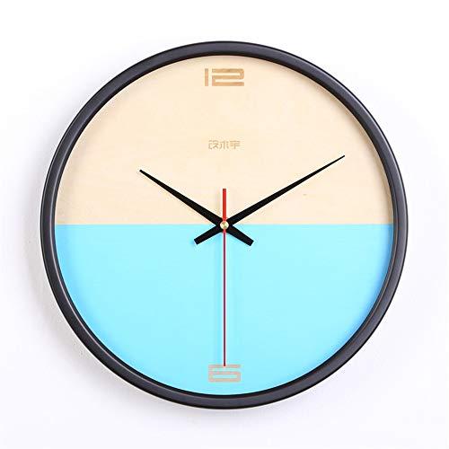 GUJIAO Wall Clock Nordic Minimalist Creative Bedroom Clocks Wooden Ultra-Quiet Modern Living Room Round 12In,Blue