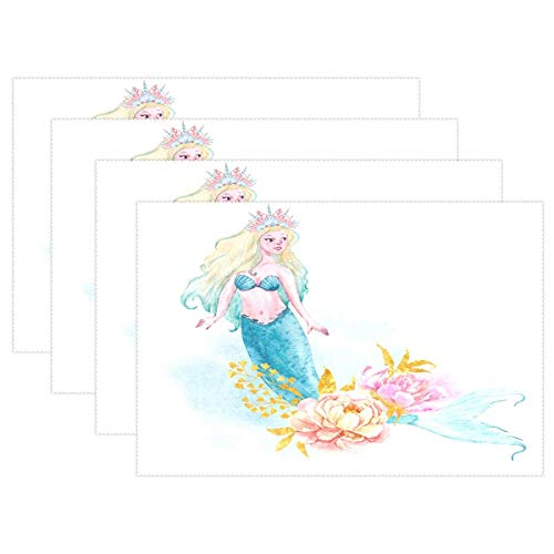 Promini Heat-Resistant Placemats, Mermaid Girl Washable Polyester Table Mats Non Slip Washable Placemats for Kitchen Dining Room Set of 4 -