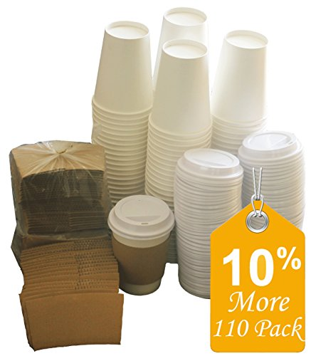 Sugarman Creations Paper Coffee Hot Cups with Lids and Sleeves, 12-Ounce White (110-Pieces)