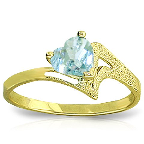 Aquamarine Heart Ring - 14k Yellow Gold Heart-shaped Natural Aquamarine Ring - Size 8.0