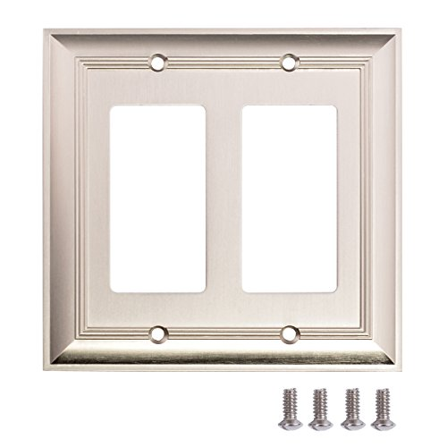 AmazonBasics Double Gang Light Switch Wall Plate, Satin Nickel, Set of 2 2 Gang Switch Wall Plates