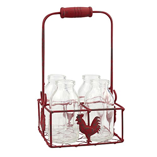 - Stonebriar Farmhouse Set of 4 Milk Bottles in Metal Container, Red, 5 Piece