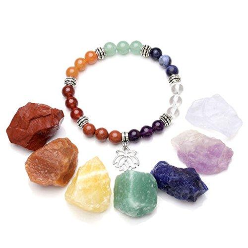 Jovivi 7 Chakra Healing Crystals Natural Rough Raw Stones and Semi Precious Gemstone Bead Stretch Bracelet Set - Healing, Balancing, Reiki, Wicca and Energy (Stone Heart Precious)