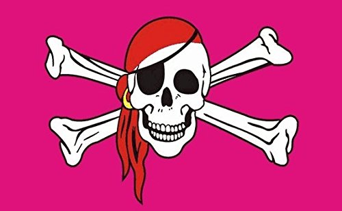 (Skull and Crossbones Pink Flag 5ft x 3ft Large - 100% Polyester - Metal Eyelets - Double Stitched )